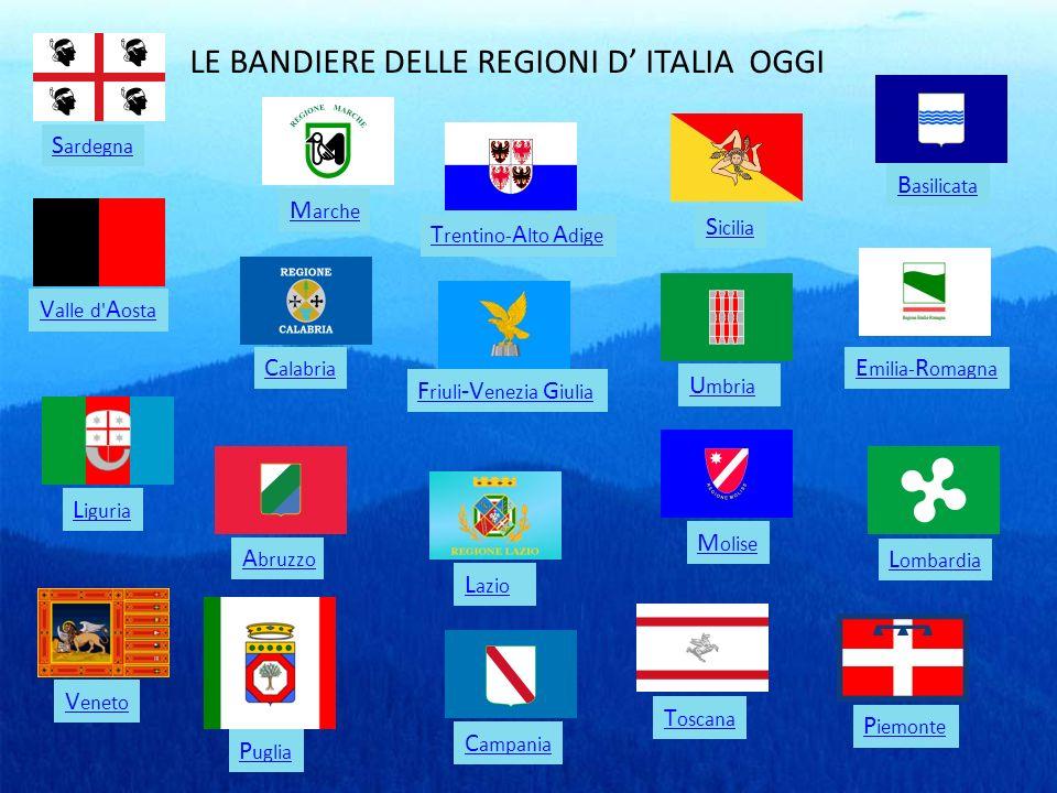 LE BANDIERE DELLE REGIONI D' ITALIA OGGI
