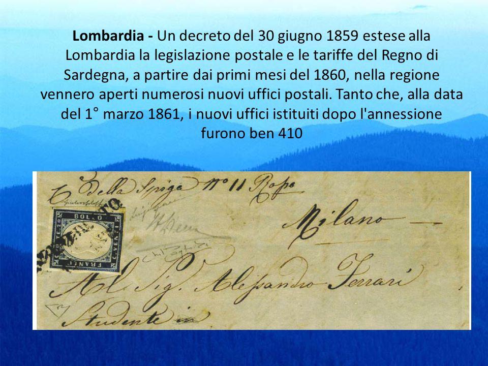 Lombardia - Un decreto del 30 giugno 1859 estese alla