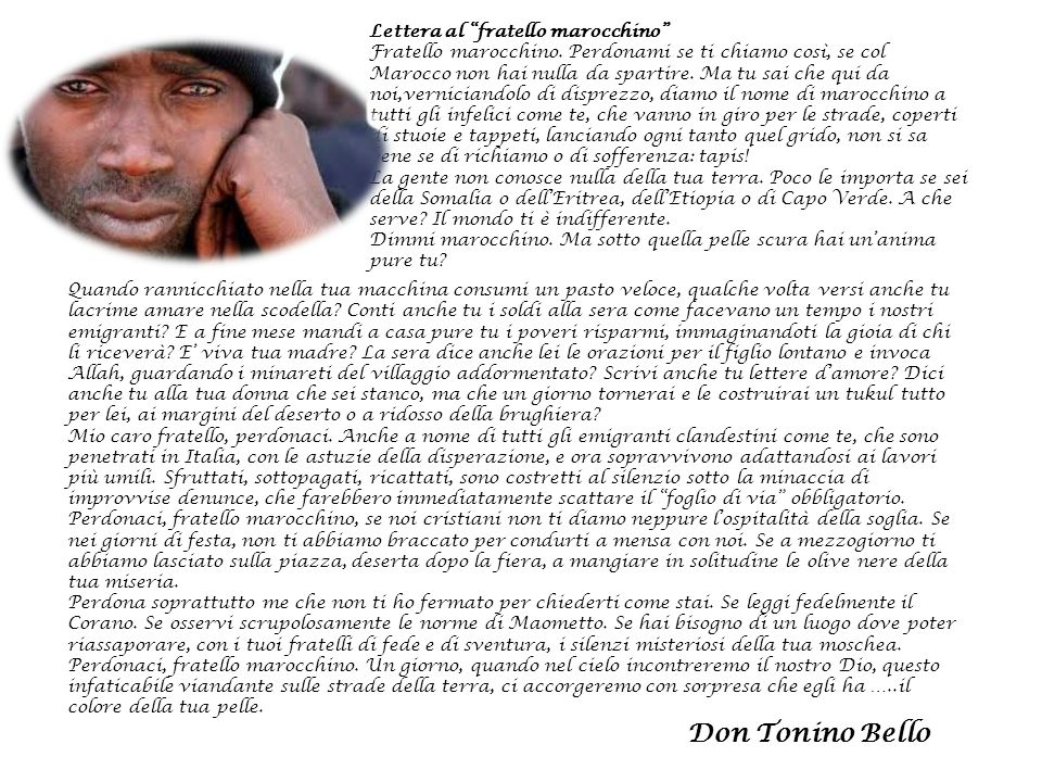 Lettera al fratello marocchino
