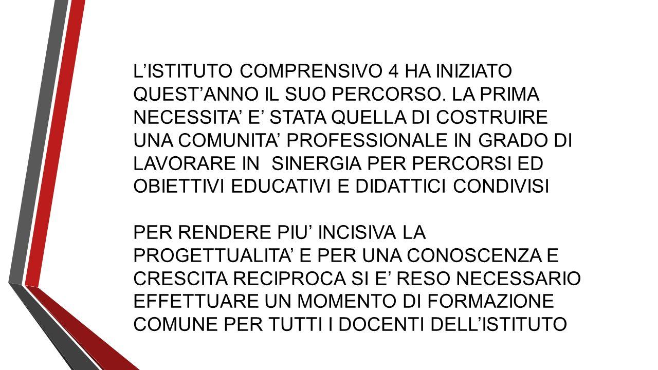 L'ISTITUTO COMPRENSIVO 4 HA INIZIATO QUEST'ANNO IL SUO PERCORSO