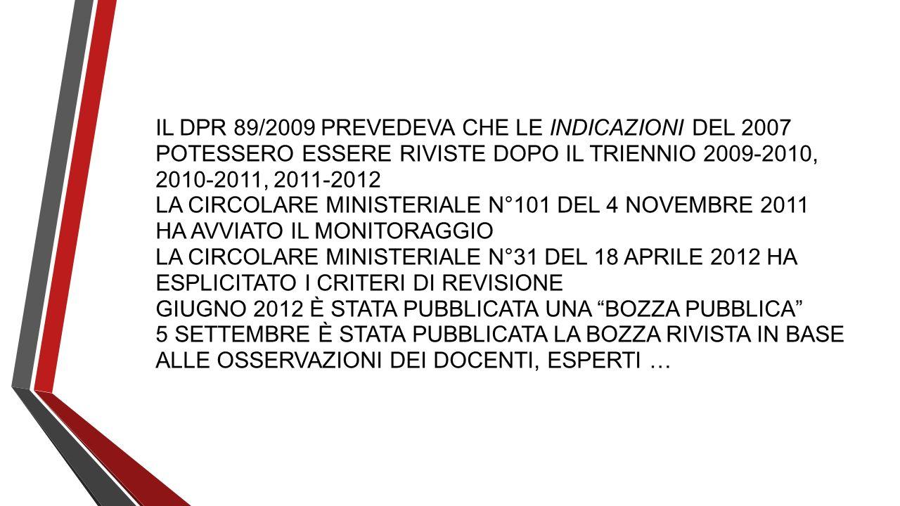 IL DPR 89/2009 PREVEDEVA CHE LE INDICAZIONI DEL 2007