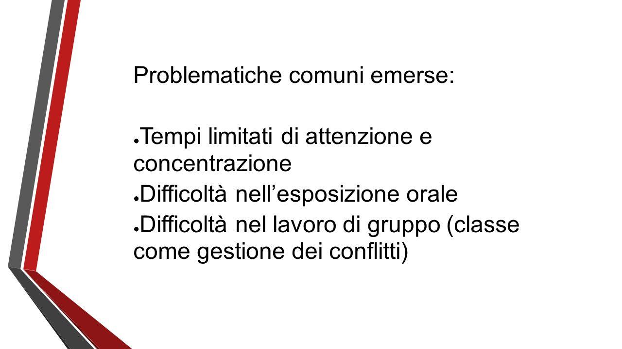 Problematiche comuni emerse: