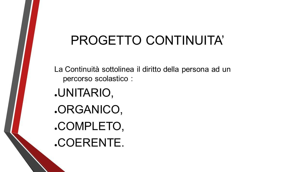 PROGETTO CONTINUITA' UNITARIO, ORGANICO, COMPLETO, COERENTE.