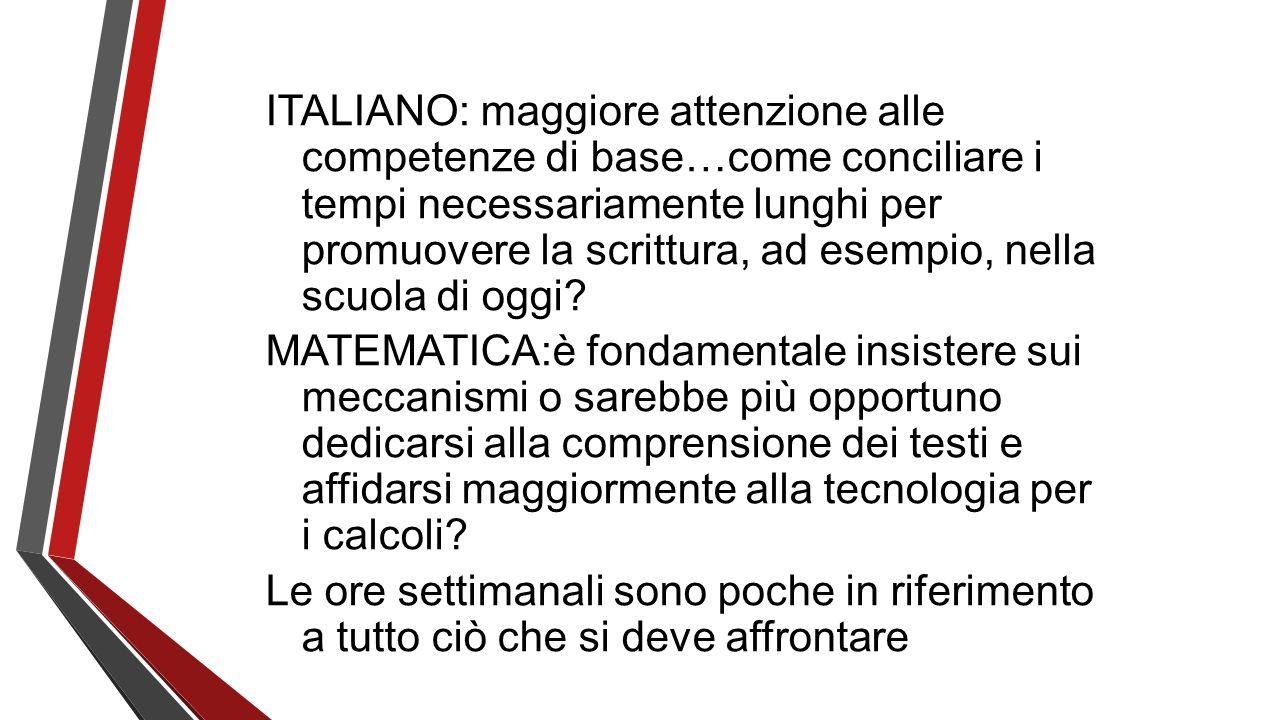 ITALIANO: maggiore attenzione alle competenze di base…come conciliare i tempi necessariamente lunghi per promuovere la scrittura, ad esempio, nella scuola di oggi