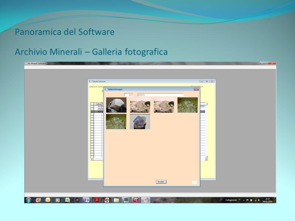 Panoramica del Software Archivio Minerali – Galleria fotografica
