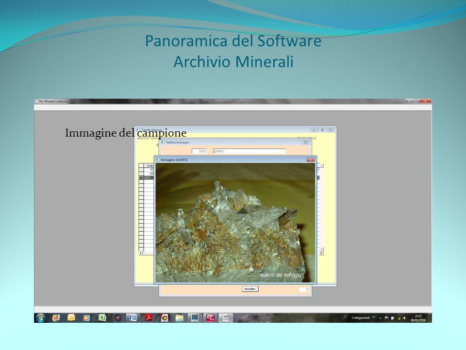 Panoramica del Software Archivio Minerali