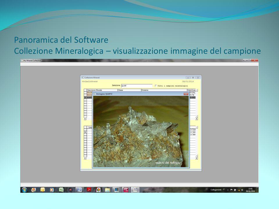 Panoramica del Software Collezione Mineralogica – visualizzazione immagine del campione
