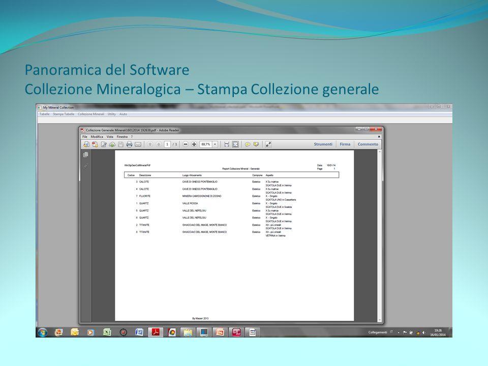 Panoramica del Software Collezione Mineralogica – Stampa Collezione generale
