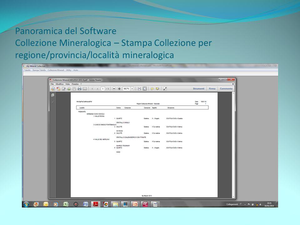 Panoramica del Software Collezione Mineralogica – Stampa Collezione per regione/provincia/località mineralogica