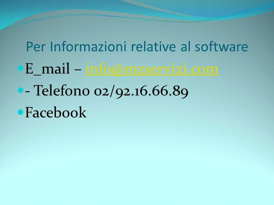 Per Informazioni relative al software