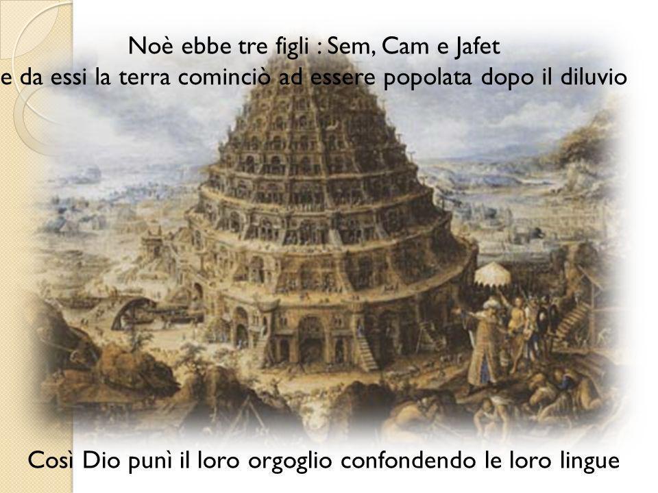 Noè ebbe tre figli : Sem, Cam e Jafet