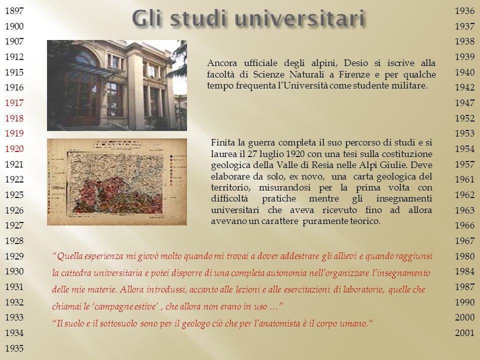 Gli studi universitari