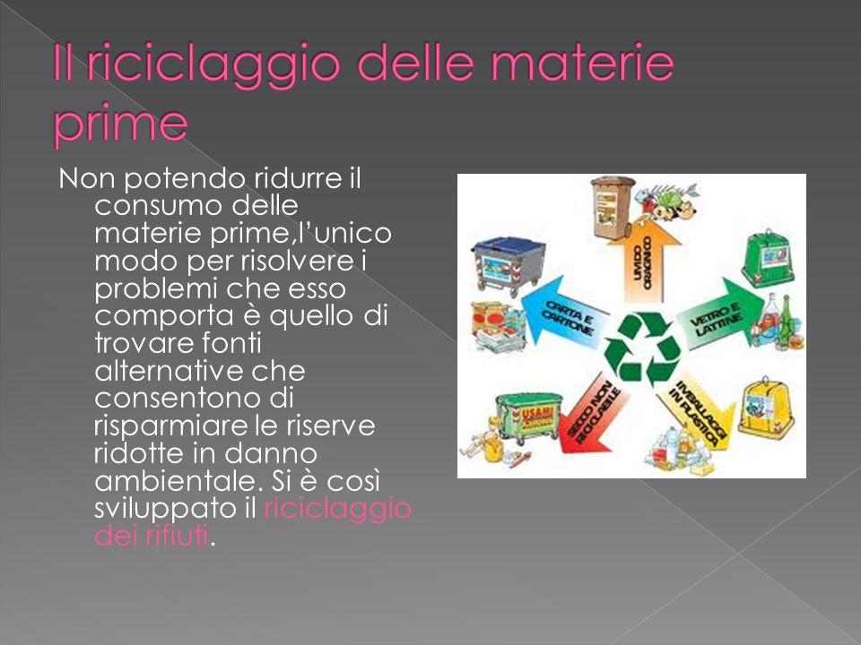 Il riciclaggio delle materie prime
