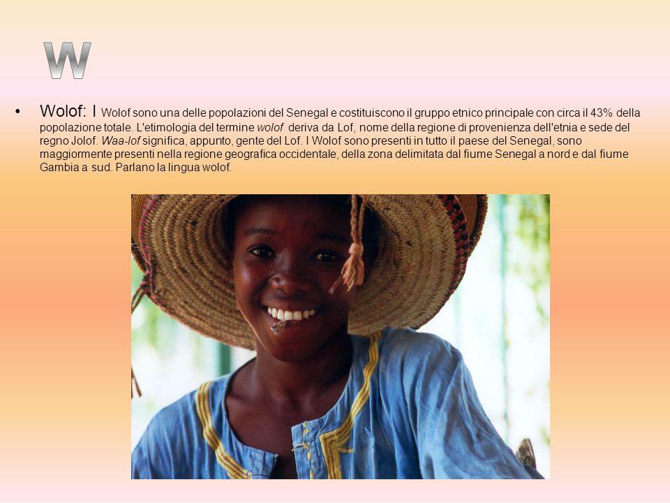 Wolof: I Wolof sono una delle popolazioni del Senegal e costituiscono il gruppo etnico principale con circa il 43% della popolazione totale. L etimologia del termine wolof deriva da Lof, nome della regione di provenienza dell etnia e sede del regno Jolof. Waa-lof significa, appunto, gente del Lof. I Wolof sono presenti in tutto il paese del Senegal, sono maggiormente presenti nella regione geografica occidentale, della zona delimitata dal fiume Senegal a nord e dal fiume Gambia a sud. Parlano la lingua wolof.
