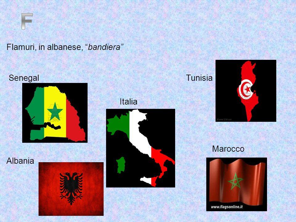 F Flamuri, in albanese, bandiera Senegal Tunisia Italia Marocco