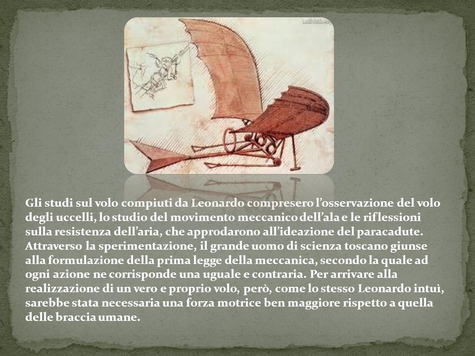 Gli studi sul volo compiuti da Leonardo compresero l'osservazione del volo degli uccelli, lo studio del movimento meccanico dell'ala e le riflessioni sulla resistenza dell'aria, che approdarono all'ideazione del paracadute.