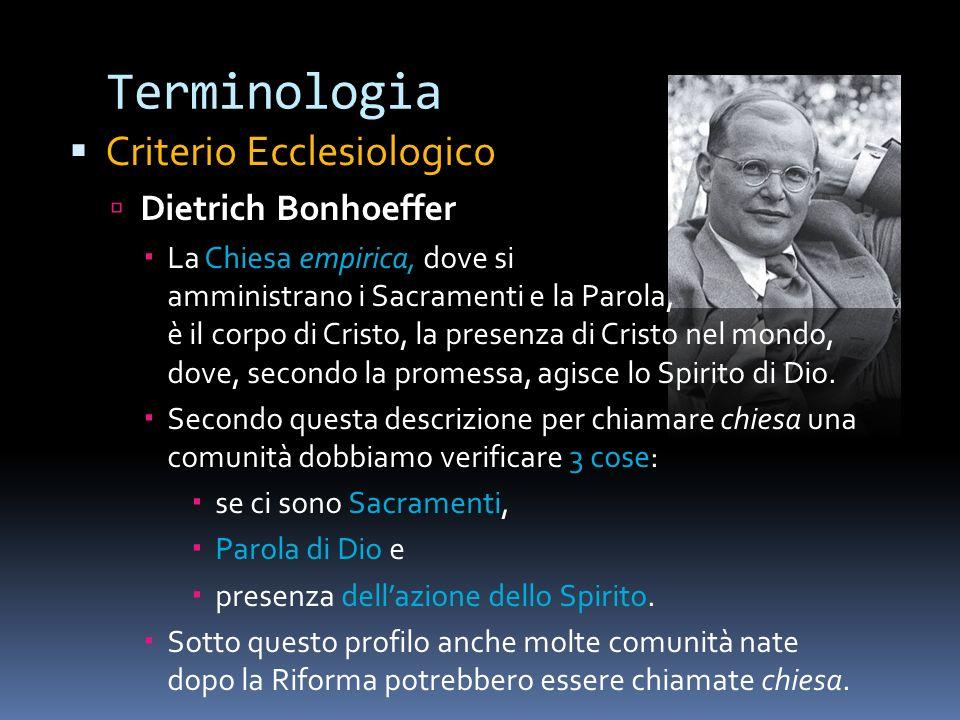 Terminologia Criterio Ecclesiologico Dietrich Bonhoeffer