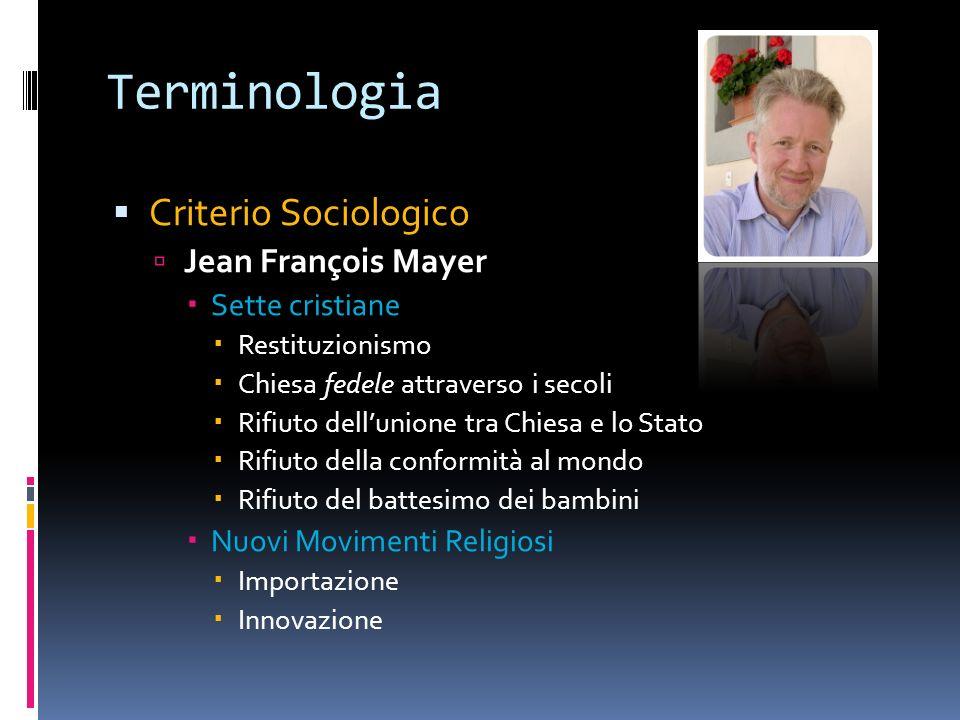 Terminologia Criterio Sociologico Jean François Mayer Sette cristiane