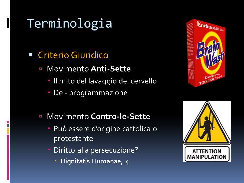 Terminologia Criterio Giuridico Movimento Anti-Sette