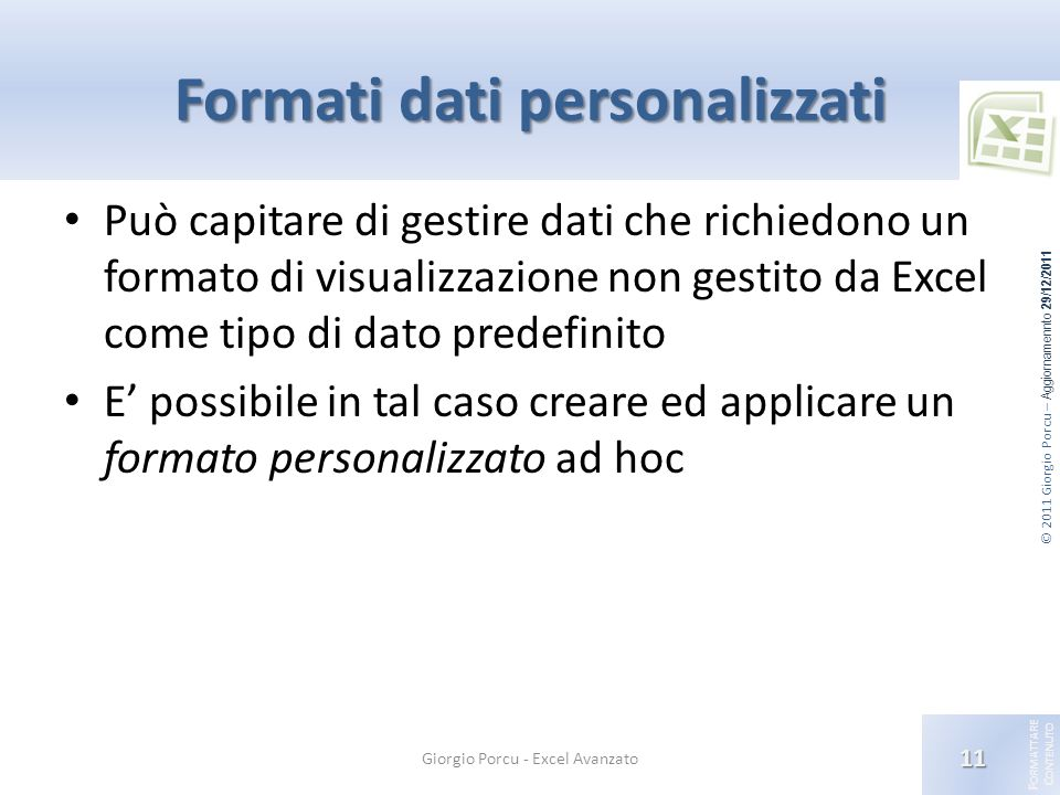 Formati dati personalizzati