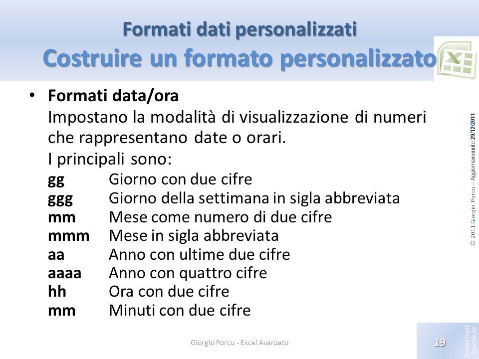 Formati dati personalizzati Costruire un formato personalizzato