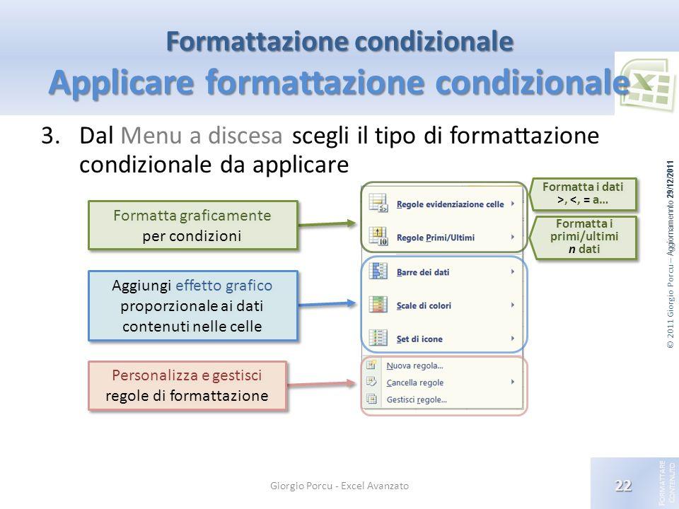Formattazione condizionale Applicare formattazione condizionale