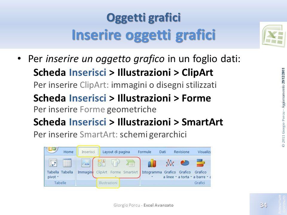 Oggetti grafici Inserire oggetti grafici