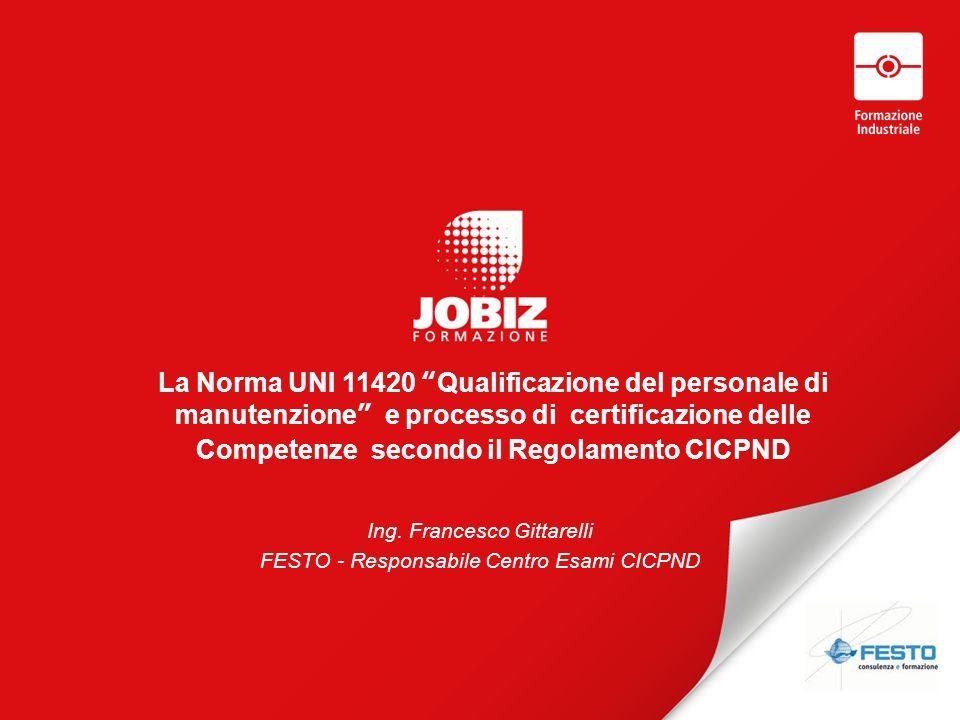 La Norma UNI 11420 Qualificazione del personale di manutenzione e processo di certificazione delle Competenze secondo il Regolamento CICPND
