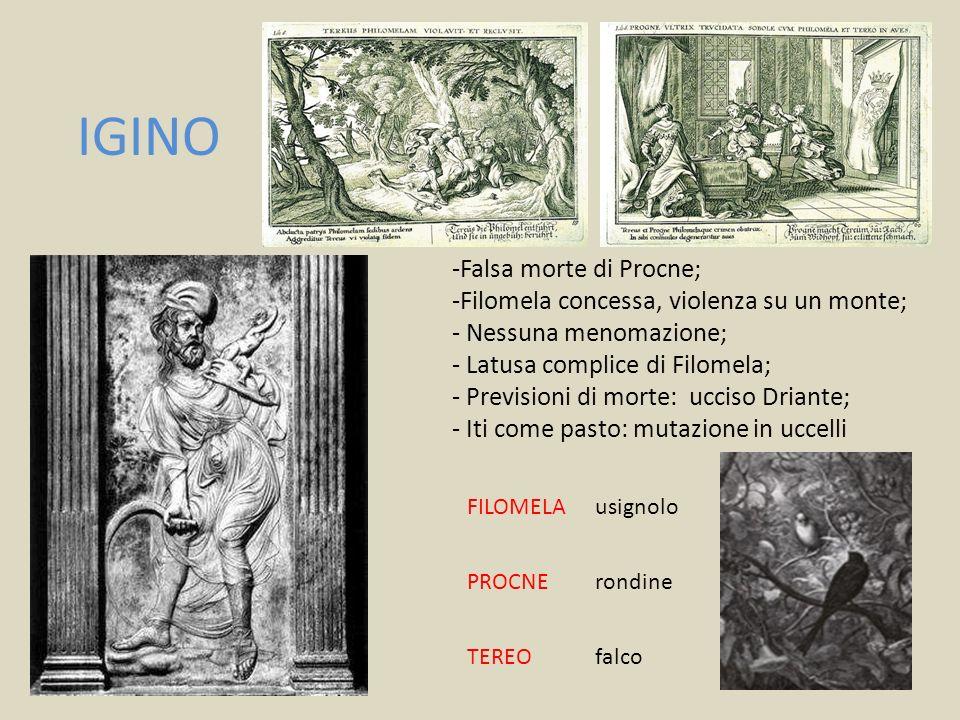 IGINO -Falsa morte di Procne; Filomela concessa, violenza su un monte;