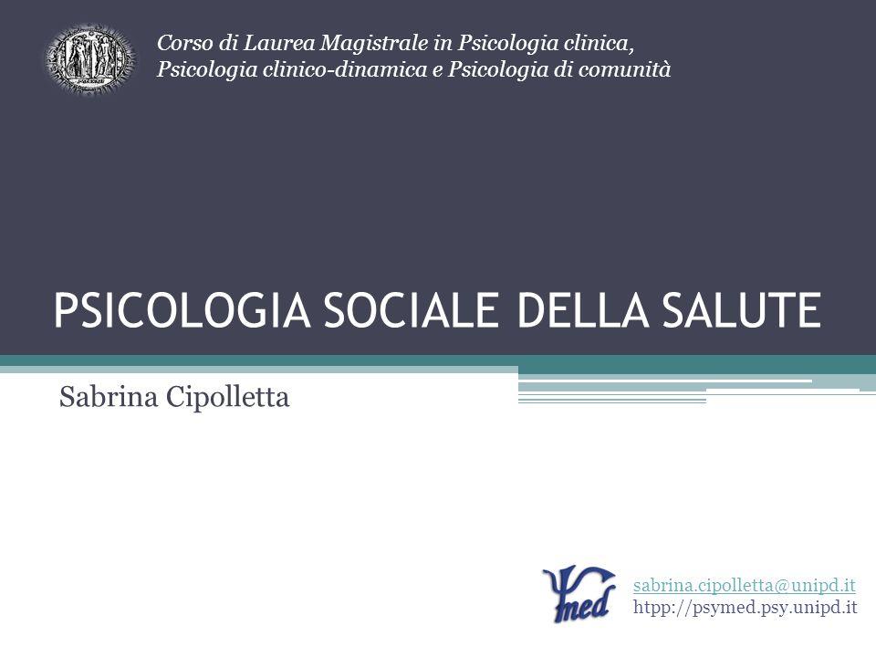 PSICOLOGIA SOCIALE DELLA SALUTE