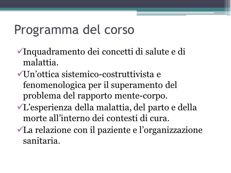 Programma del corso Inquadramento dei concetti di salute e di malattia.
