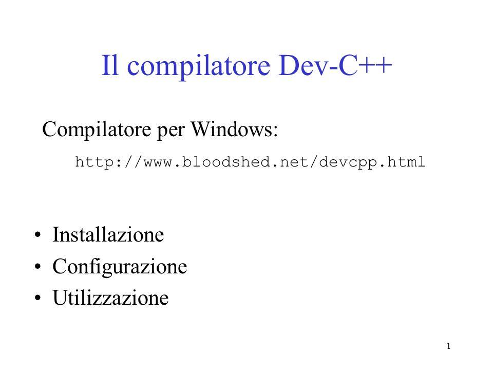 Il compilatore Dev-C++