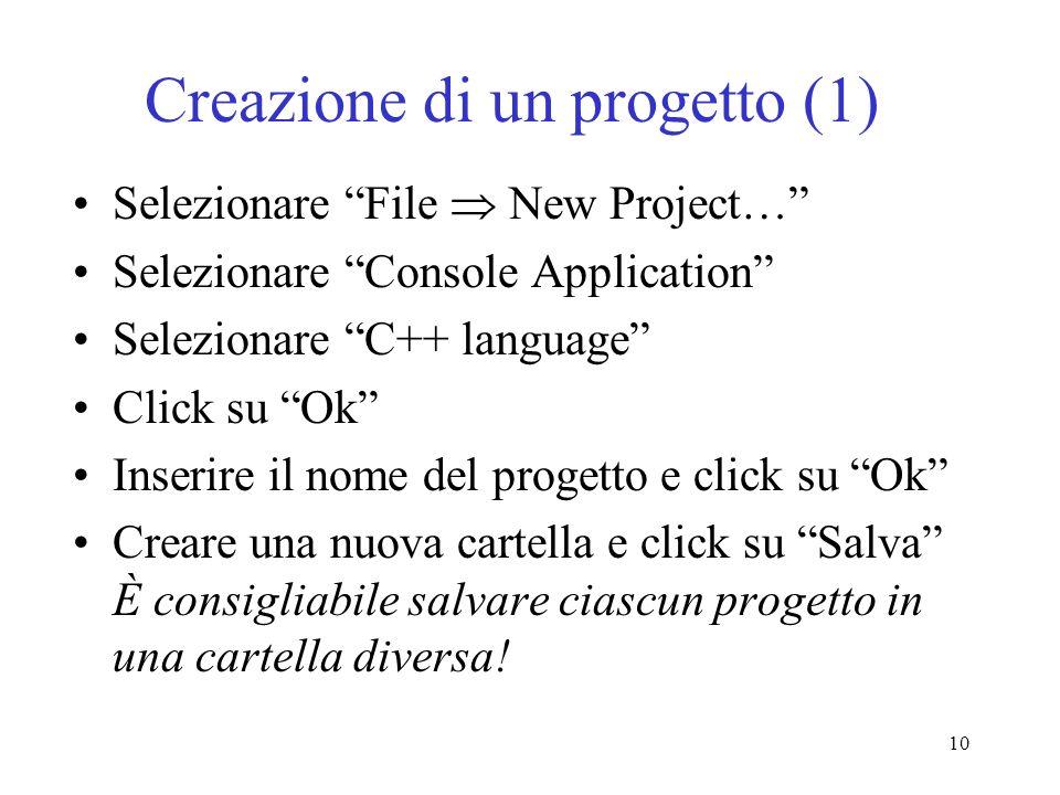 Creazione di un progetto (1)