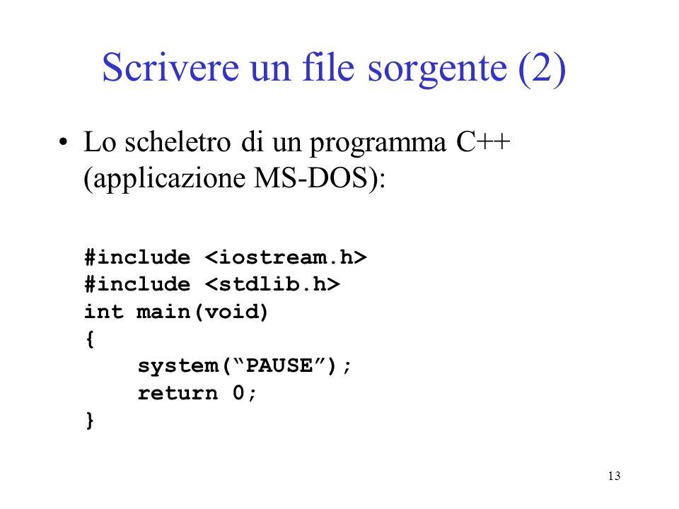 Scrivere un file sorgente (2)