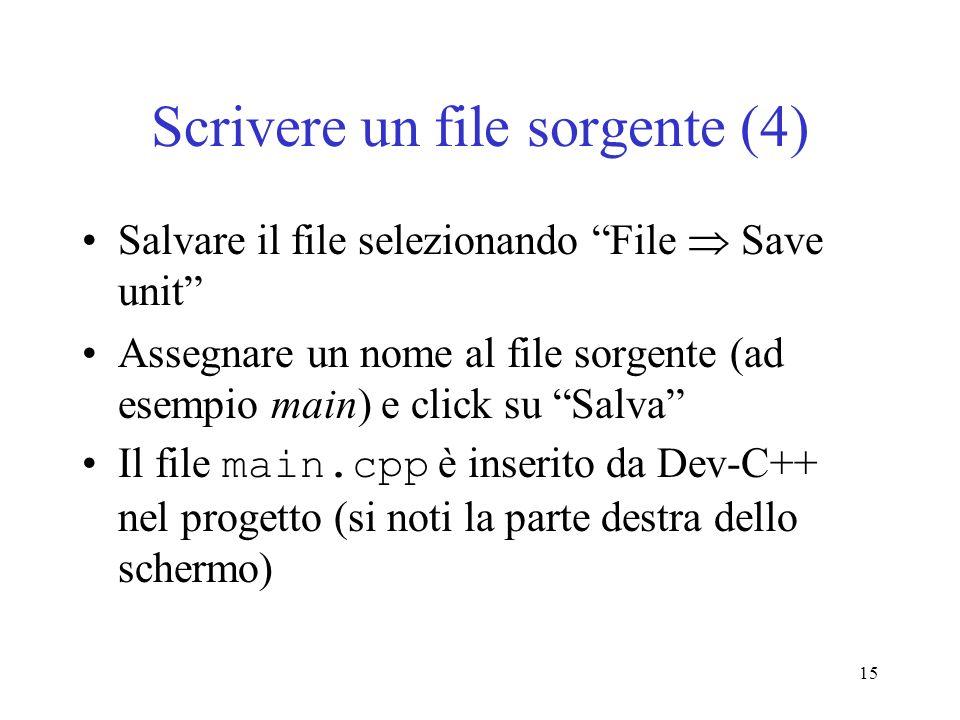 Scrivere un file sorgente (4)