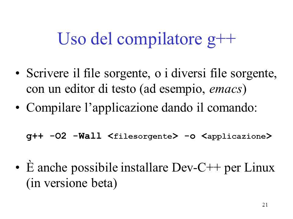 Uso del compilatore g++