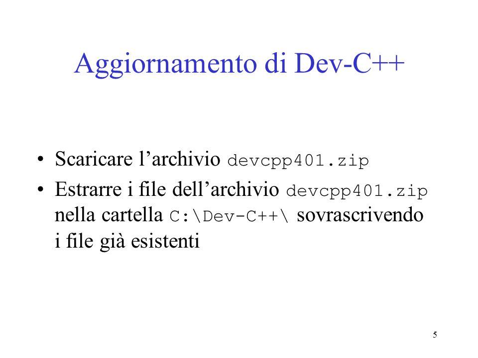 Aggiornamento di Dev-C++