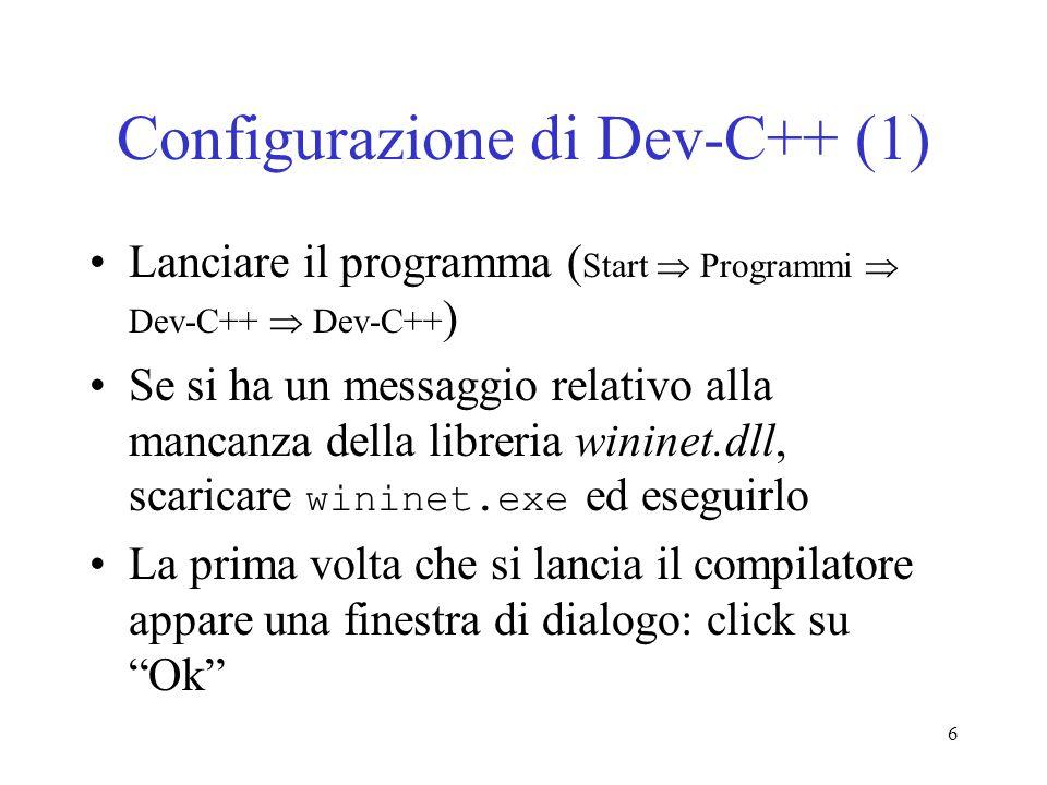 Configurazione di Dev-C++ (1)