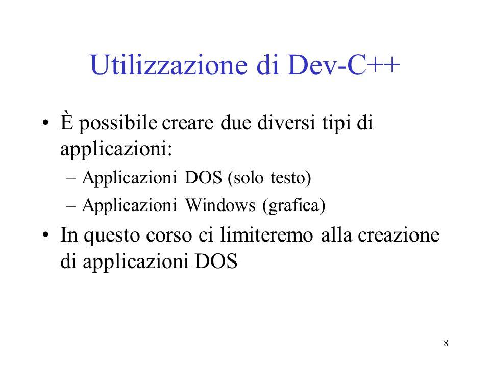 Utilizzazione di Dev-C++
