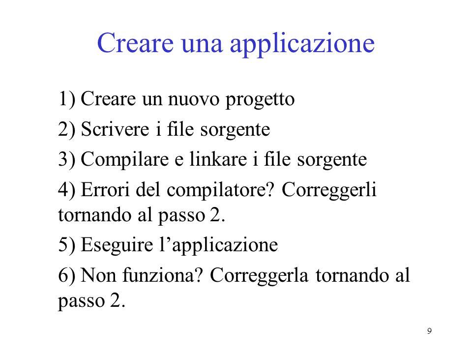 Creare una applicazione