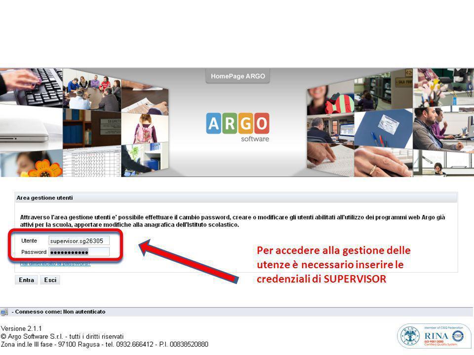 Per accedere alla gestione delle utenze è necessario inserire le credenziali di SUPERVISOR