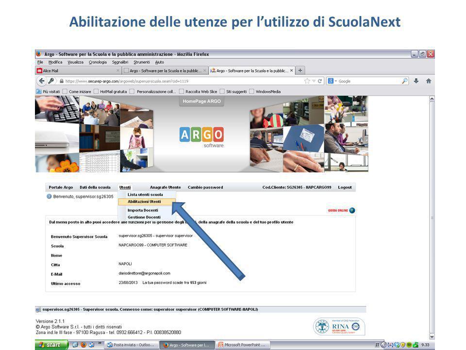 Abilitazione delle utenze per l'utilizzo di ScuolaNext