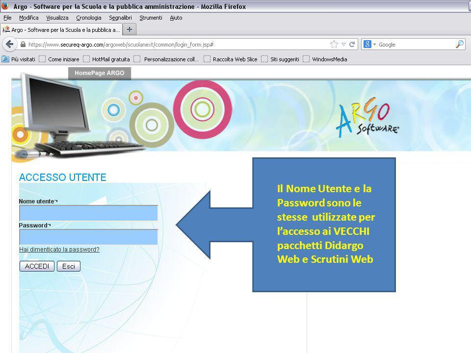 Il Nome Utente e la Password sono le stesse utilizzate per l'accesso ai VECCHI pacchetti Didargo Web e Scrutini Web