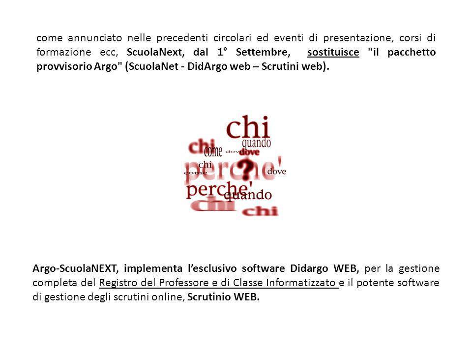 come annunciato nelle precedenti circolari ed eventi di presentazione, corsi di formazione ecc, ScuolaNext, dal 1° Settembre, sostituisce il pacchetto provvisorio Argo (ScuolaNet - DidArgo web – Scrutini web).