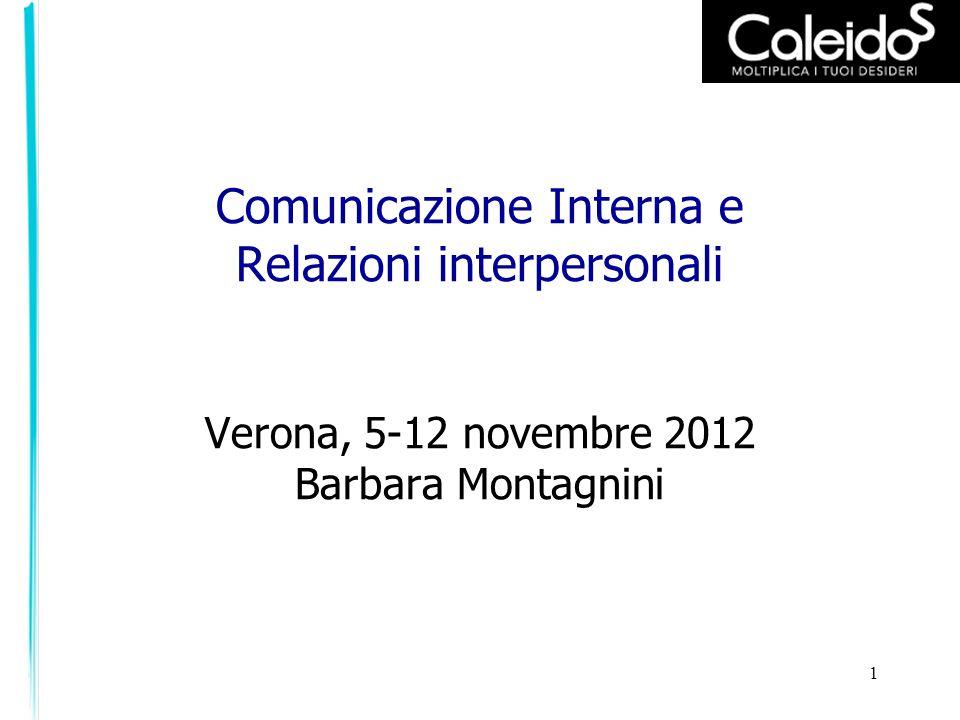 Comunicazione Interna e Relazioni interpersonali Verona, 5-12 novembre 2012 Barbara Montagnini
