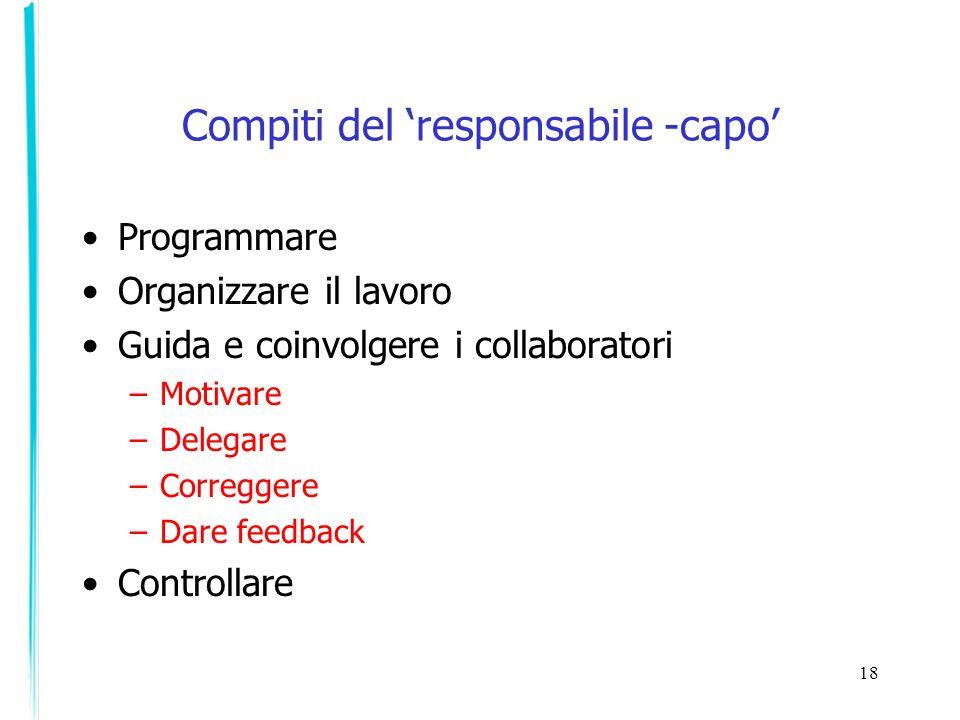 Compiti del 'responsabile -capo'