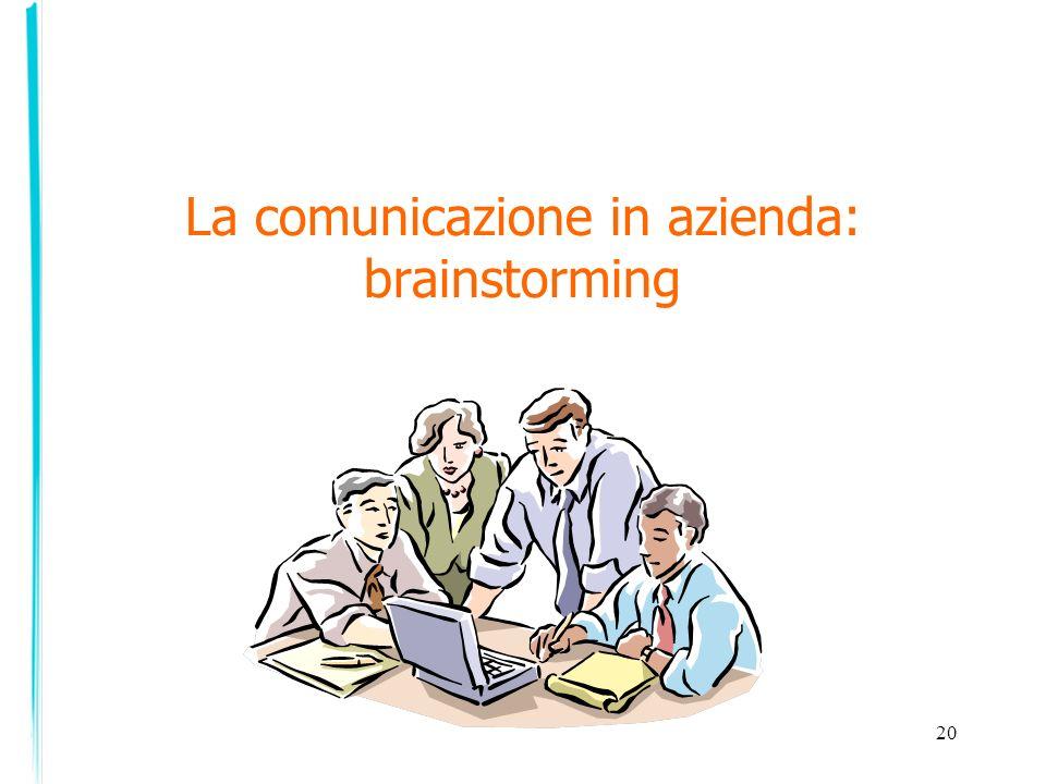 La comunicazione in azienda: brainstorming