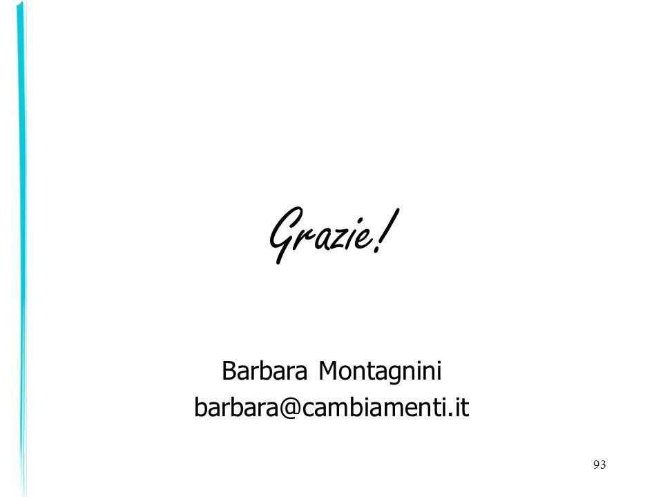 Grazie! Barbara Montagnini barbara@cambiamenti.it