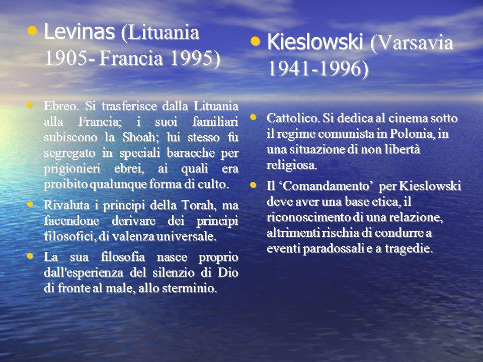 Levinas (Lituania 1905- Francia 1995) Kieslowski (Varsavia 1941-1996)