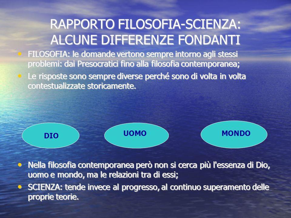 RAPPORTO FILOSOFIA-SCIENZA: ALCUNE DIFFERENZE FONDANTI
